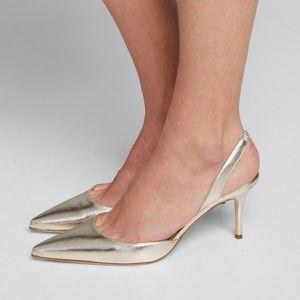 Carolyne Metallic Leather Mid-Heel Slingback Pump